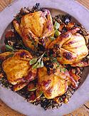 Cornish Game Hens with Mushroom-Rice Stuffing