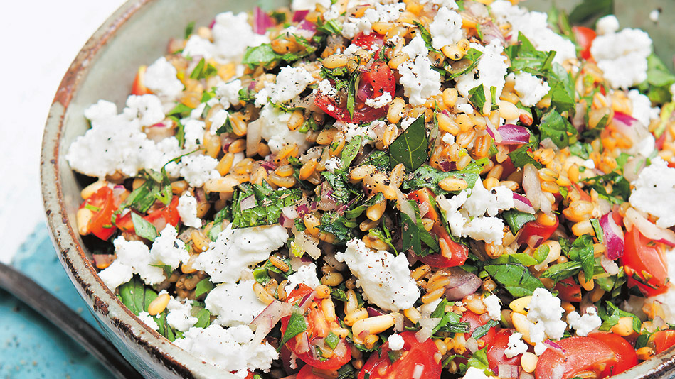 Farro with Feta, Lemon and Pine Nuts