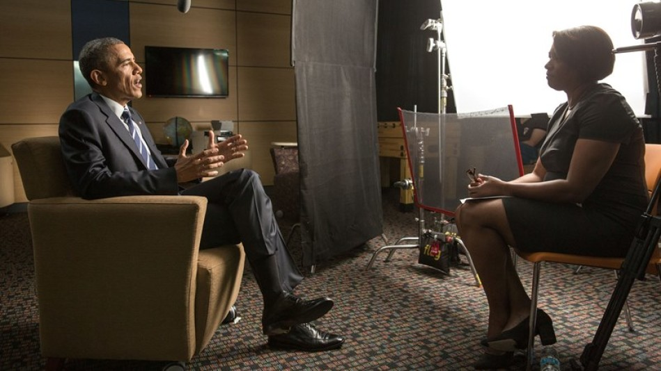 President Obama with an interviewer
