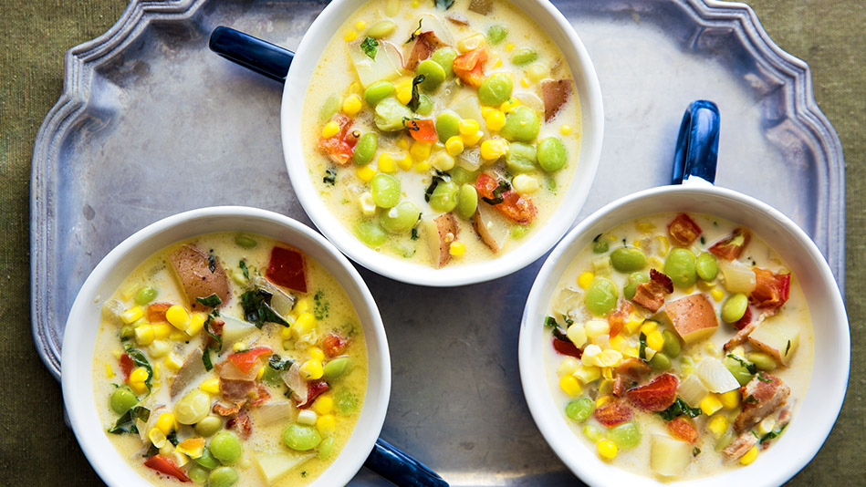 Succotash Chowder with Tomatoes and Basil