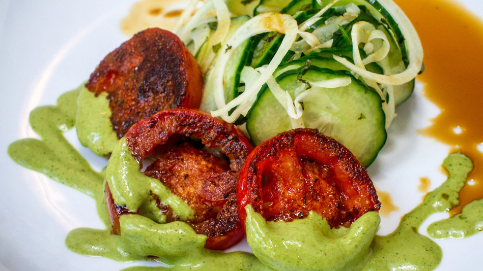 Blackened Plum Tomatoes Over Cucumber and Fennel Salad