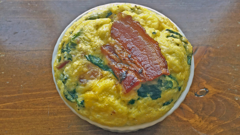 Toaster Baked Grits with Bacon and Spinach