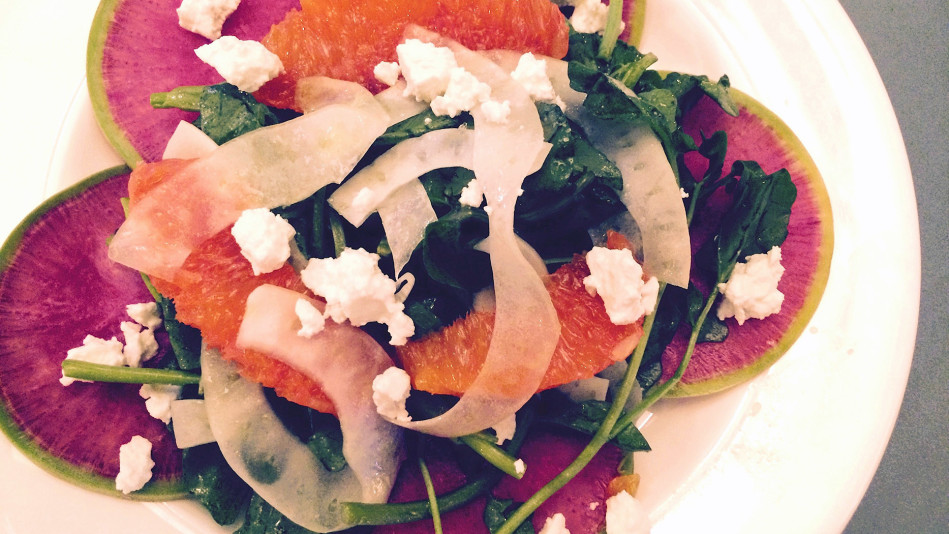 Watercress, Fennel, Orange and Watermelon Radish Salad with Feta