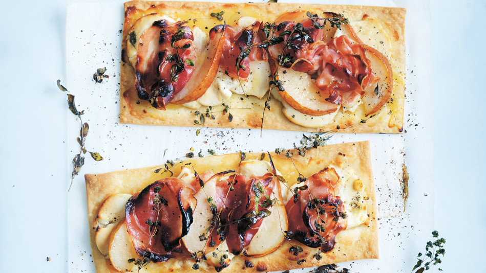 Goat Cheese, Pear and Pancetta Tarts
