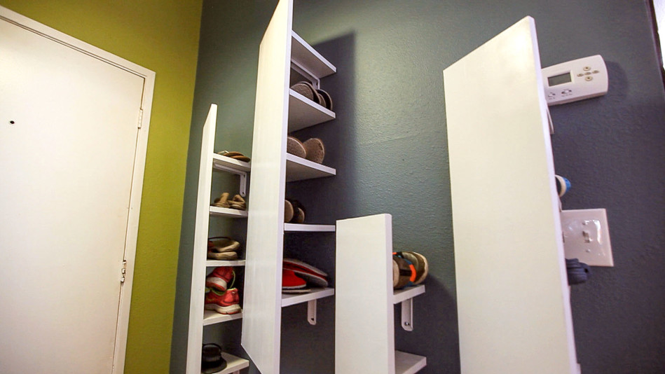 how to make a floating panel storage wall and shoe rack