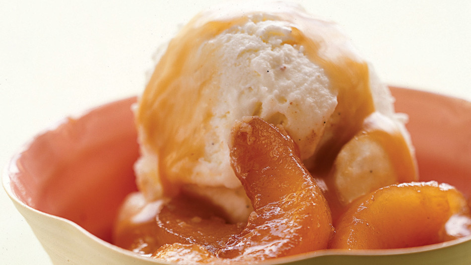 Sour Cream Ice Cream with Caramelized Pear Compote