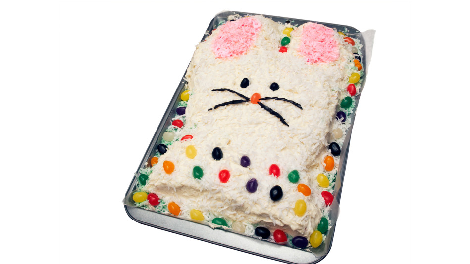 Bunny Cake and White Fluffy Icing with Coconut