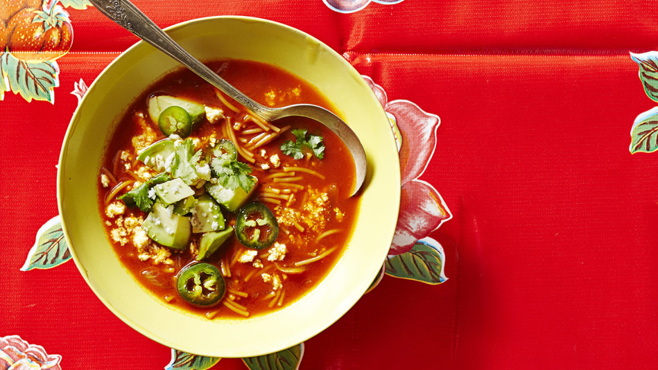 Toasted Fideos and Chili Soup with Avocado Recipe