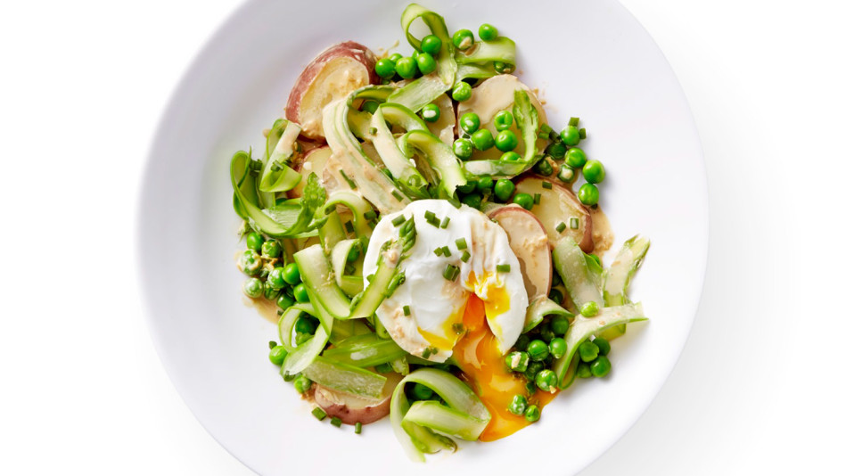Spring Vegetables with Poached Eggs and Creamy Soy Dressing Recipe