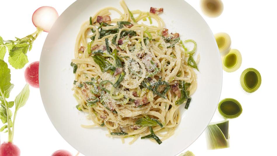 Leek Greens Carbonara With Bacon and Basil Recipe