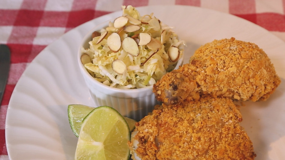 Healthy Oven Fried Chicken and Slaw