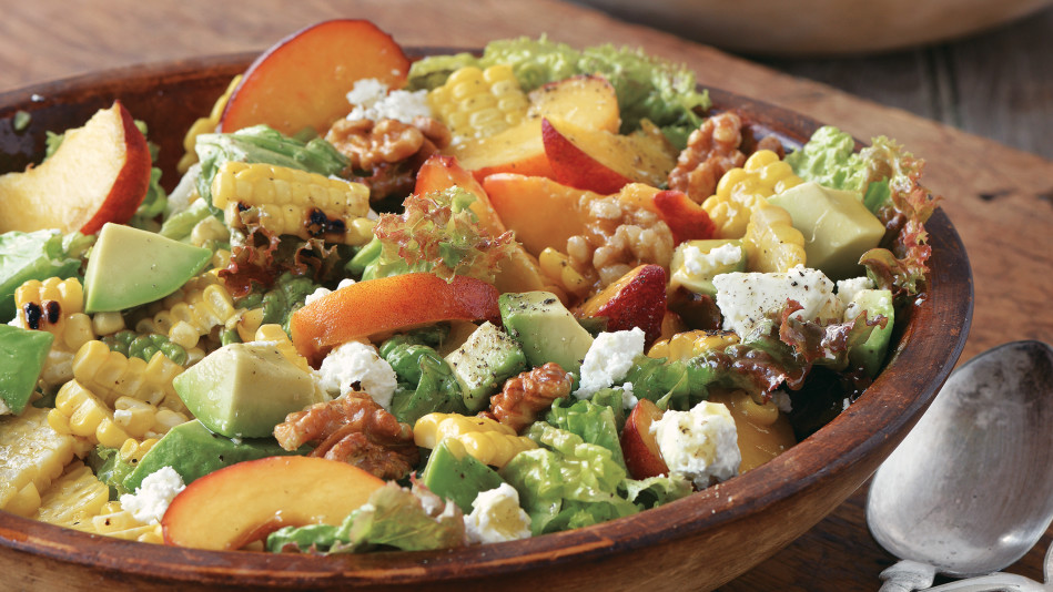 Red Leaf Lettuce Salad With Grilled Corn Peaches Avocado And Walnuts Recipe