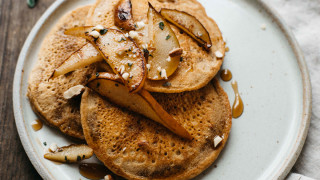 Sautéed Pear and Sage Pancakes with Almonds Recipe