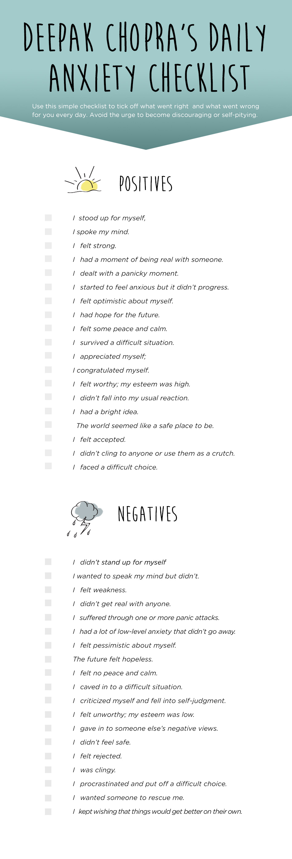 anxiety checklist