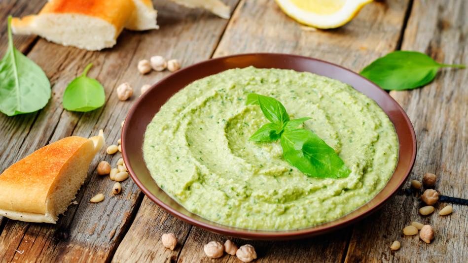 Edamame Hummus with Cucumber Slices