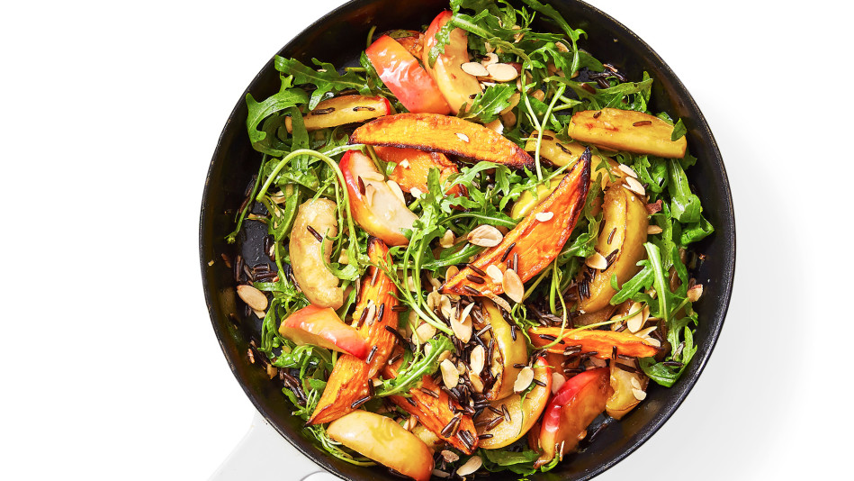 warm skillet salad with roasted apple and sweet potato