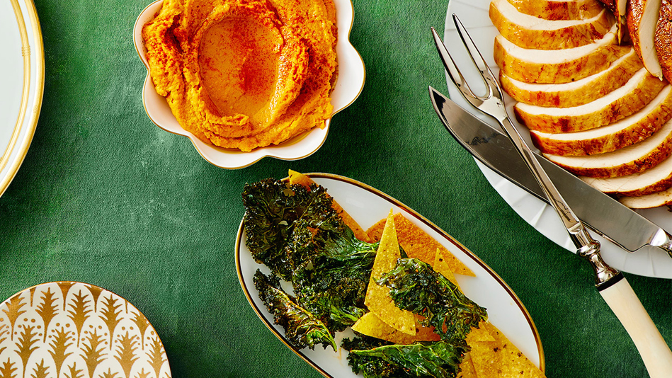 roasted carrot hummus with kale chips