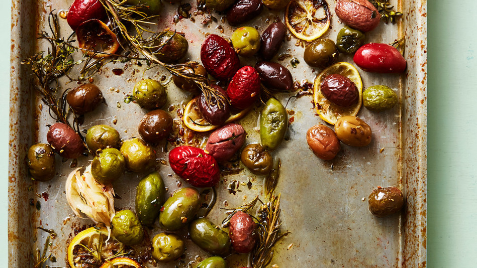 Roasted Olives with Lemon, Garlic, and Herbs Recipe