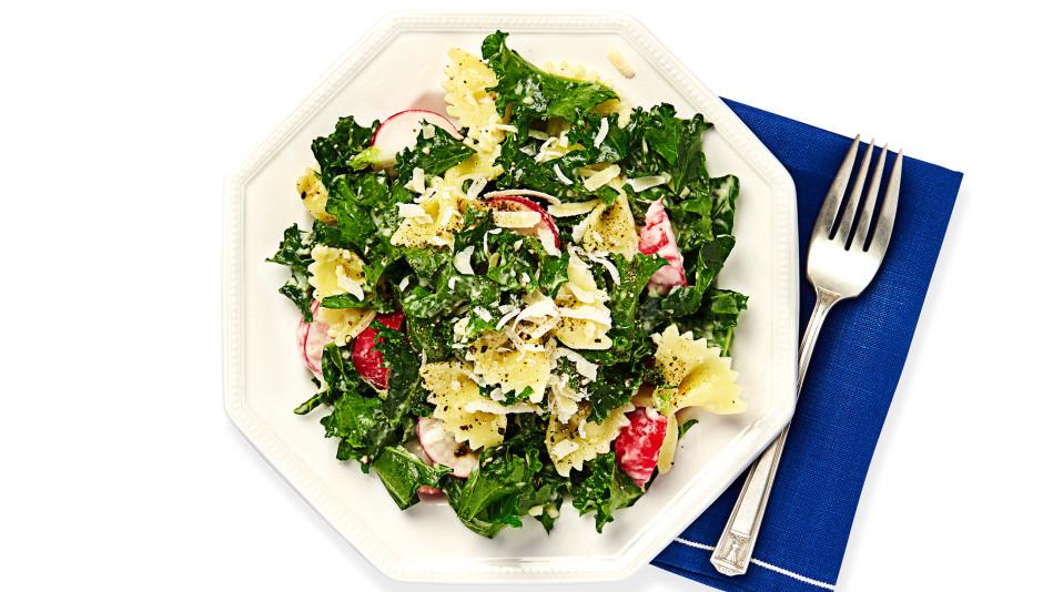 Kale Caesar Pasta Salad Recipe