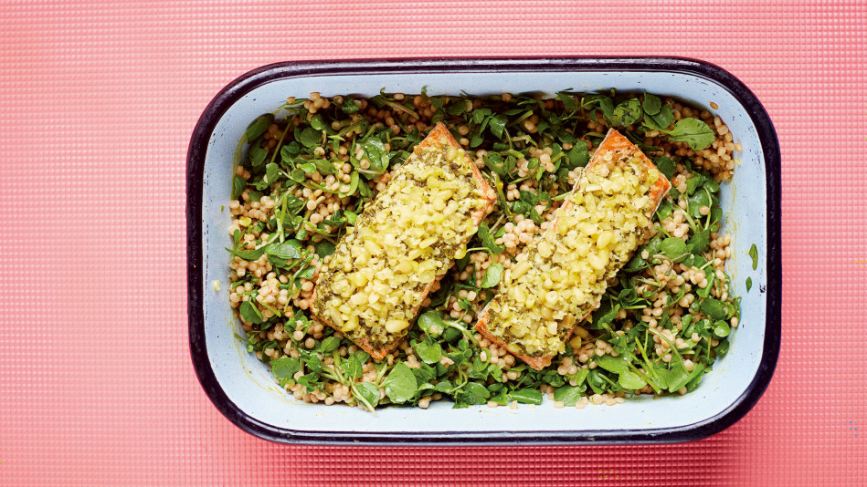 Salmon Pesto with Israeli Couscous Watercress Lemon Recipe