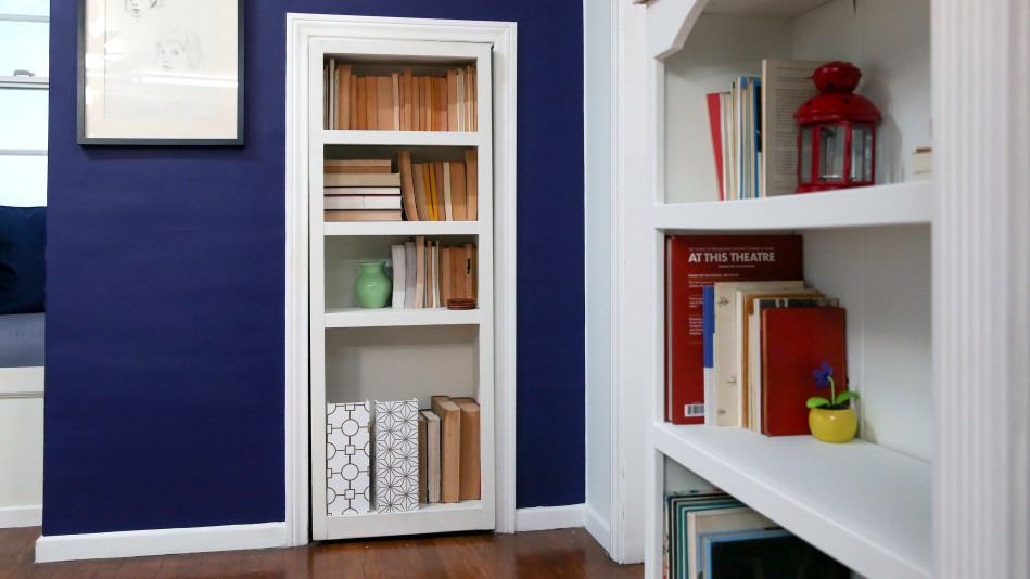 a secret closet door that doubles as extra storage