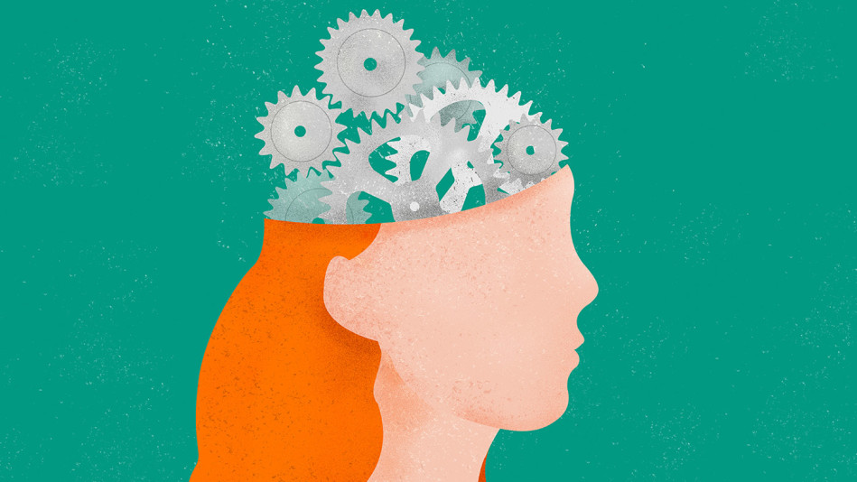 Woman with cog wheels in her head