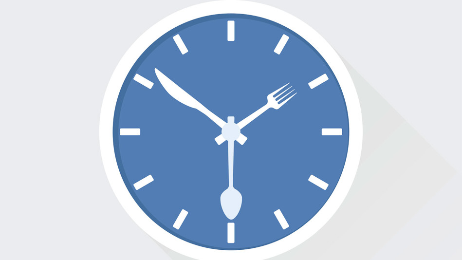Clock with utensils for hands
