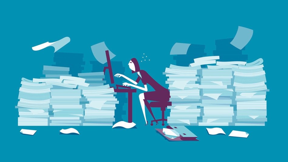 Woman swamped at work