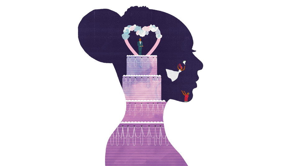 Wedding female silhouette illustration
