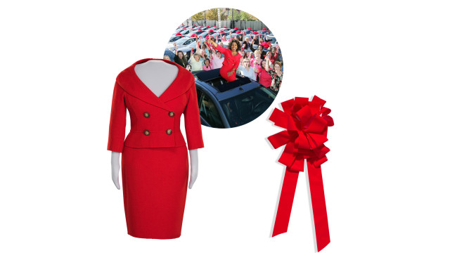 oprah car giveaway red suit and bow
