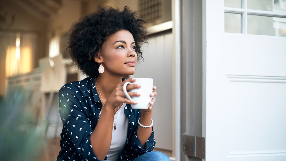 Stock image of woman having a peaceful morning