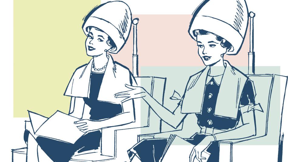 women chatting at the hair salon