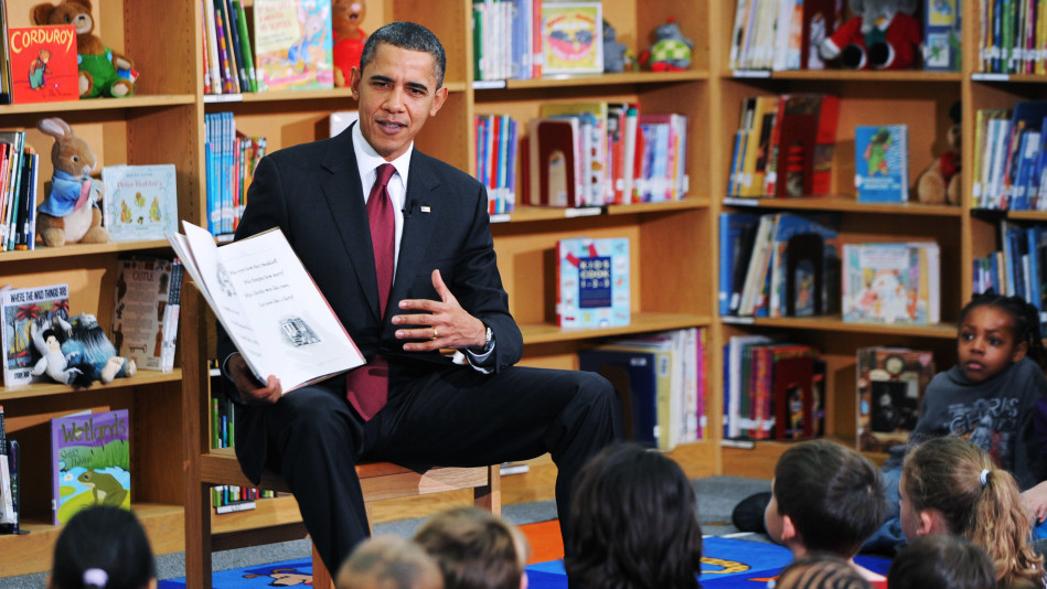 Obama Reads His Book to Second Graders in Virginia