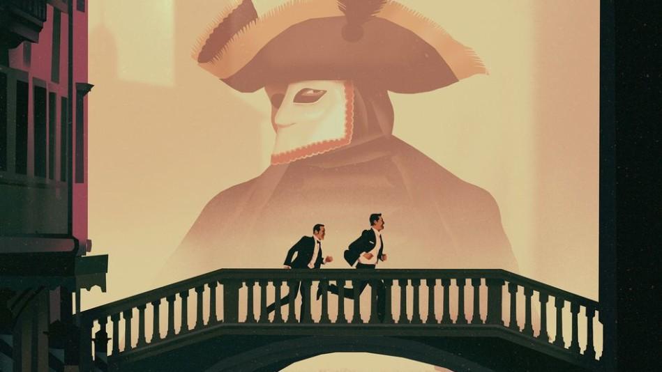 Two men running over a bridge