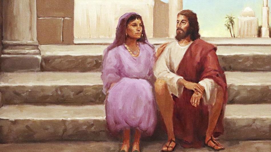 Illustration of Jesus sitting beside a woman