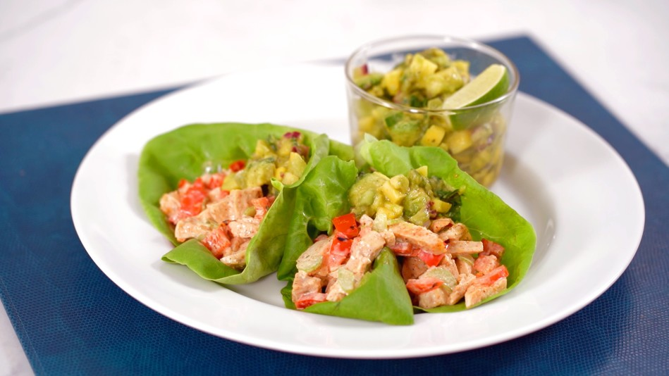 Jerk Chicken Salad Wraps with Mango Salsa