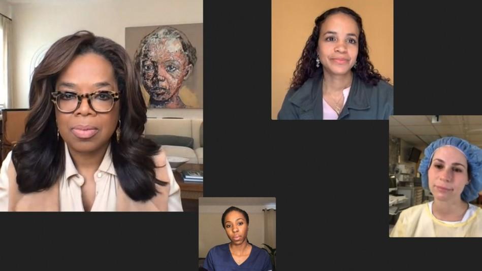 Screen capture of Oprah speaking virtually with 3 nurses