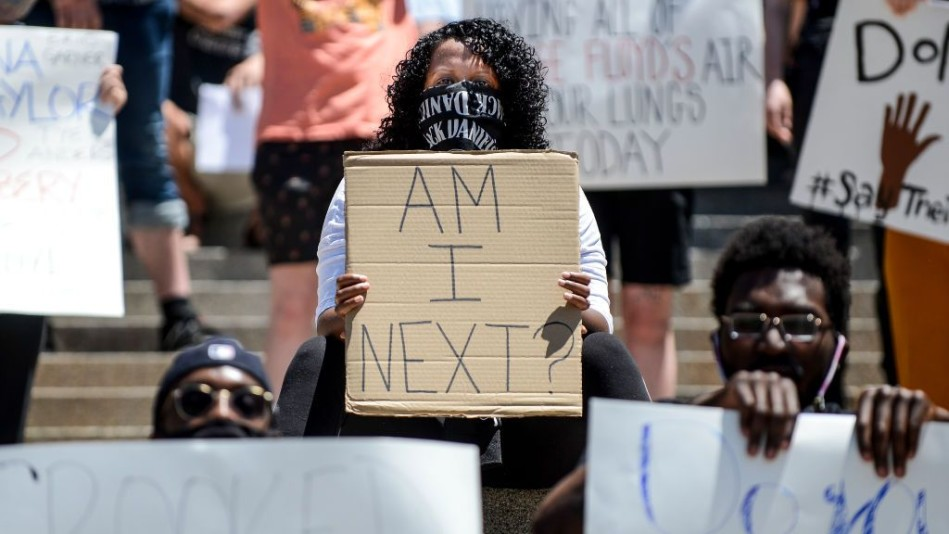 Woman protesting police brutality