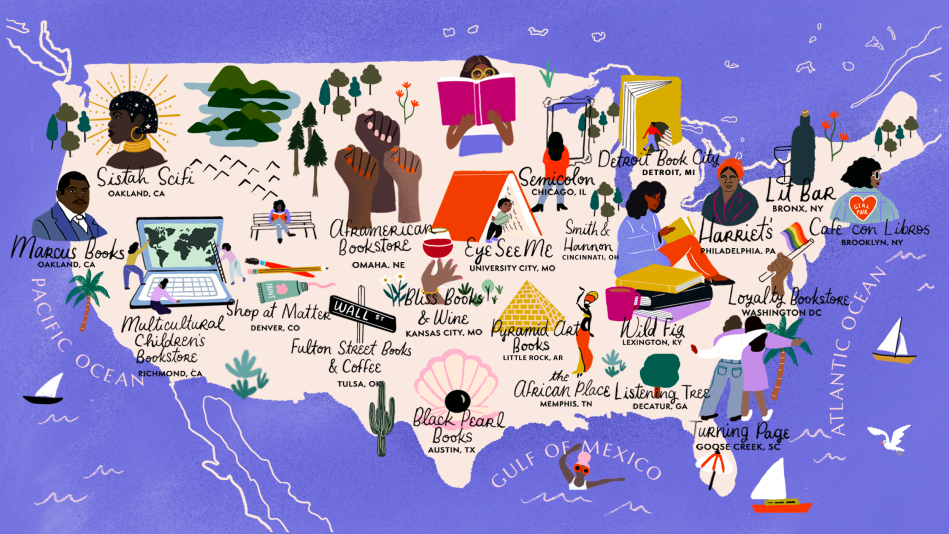 Map of black-owned bookstores across America