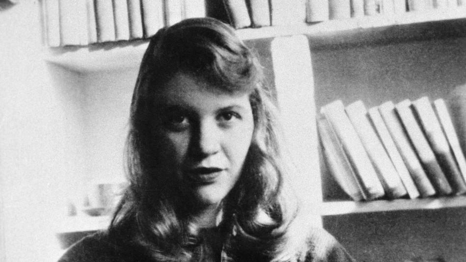 Black and white photo of Sylvia Plath