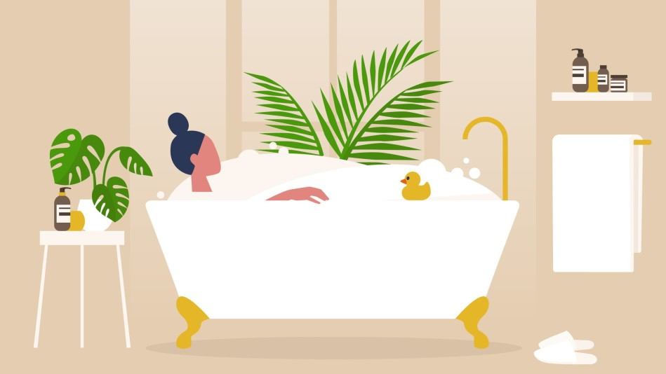 Illustration of a woman in the bathtub