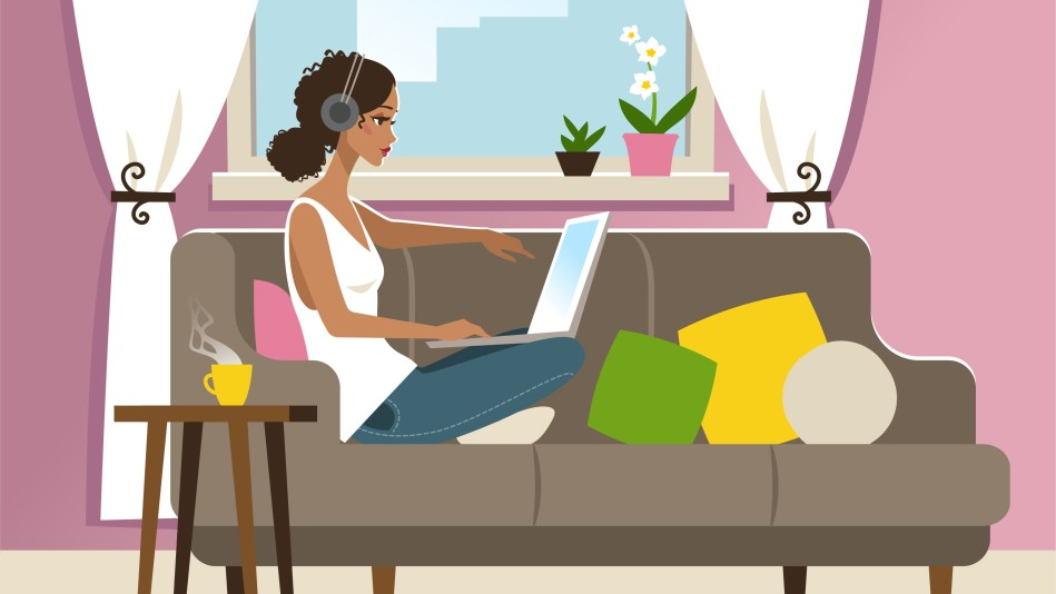 Illustration of a woman hanging out at home on the couch