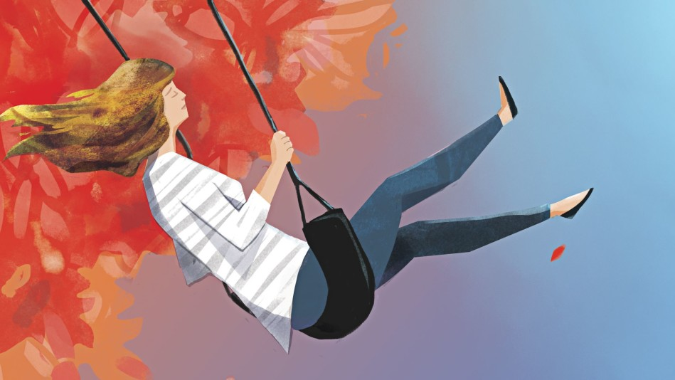 Illustration of a woman on a swing set