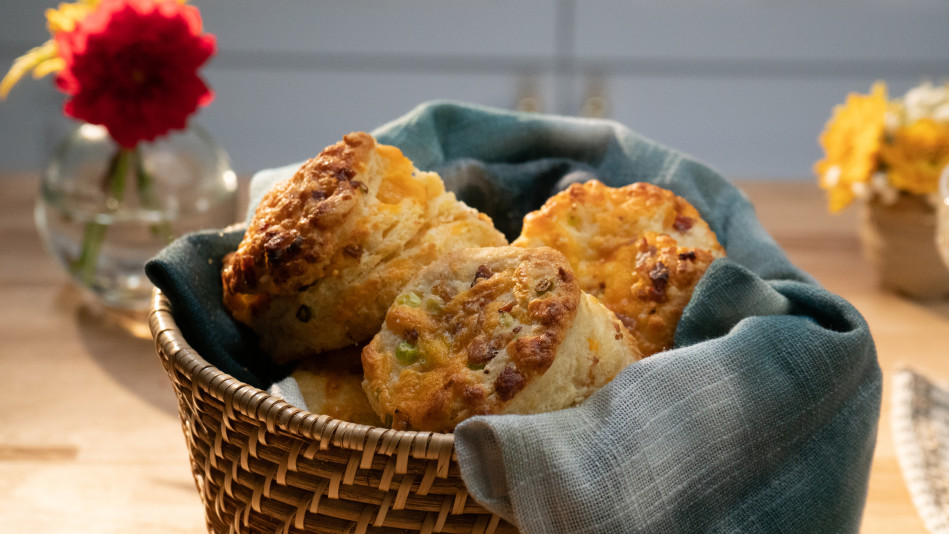 Bacon Cheddar Green Onion Biscuits