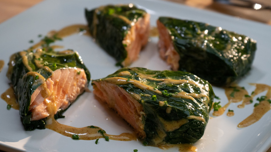 Salmon Wrapped in Collard with Creole Mustard Sauce Recipe