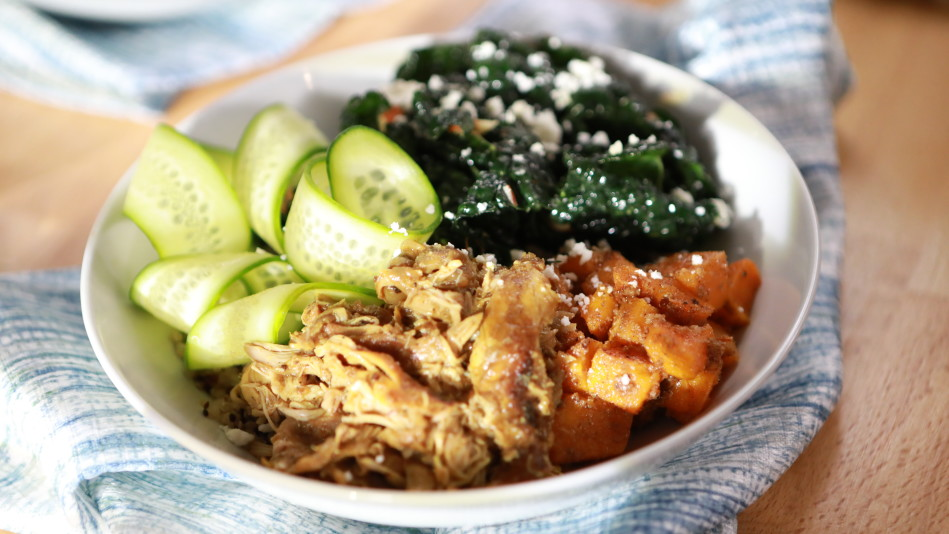Grain Bowl with Kale, Butternut Squash and Curried Braised Chicken Recipe