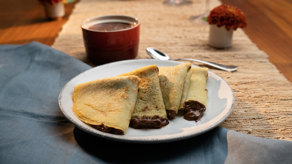 Soulful Cornmeal Crepes with Chocolate-Hazelnut Spread Recipe