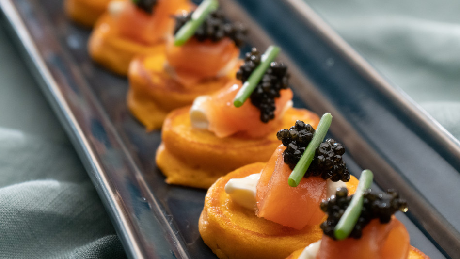 Sweet Potato Blinis with Cured Salmon, Creme Fraiche and Caviar Recipe