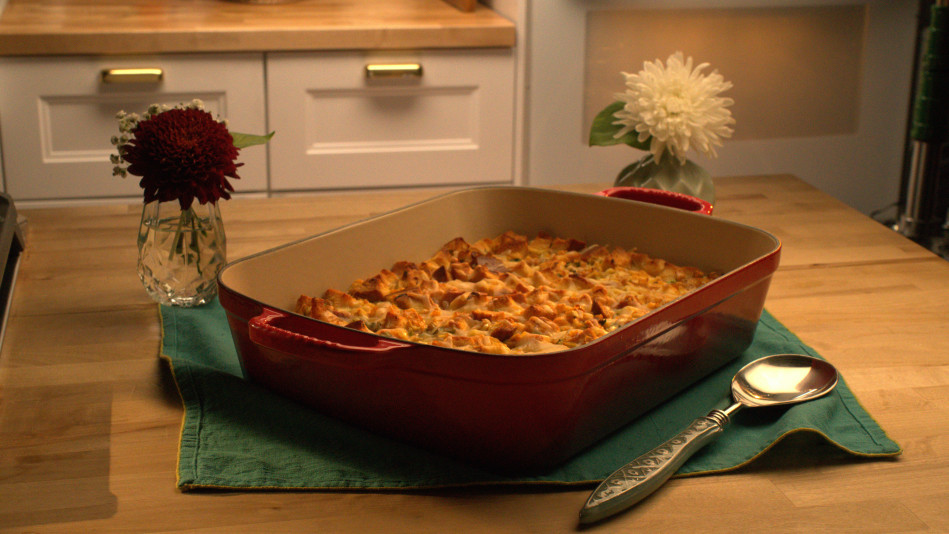 Savory Bread Pudding with Corn, Cheddar and Thyme Recipe