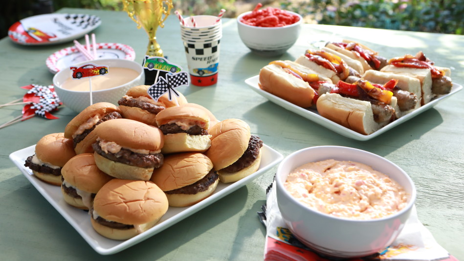 Smash Slider and Brats Bar with Quick Chili and Pimento Cheese Recipe